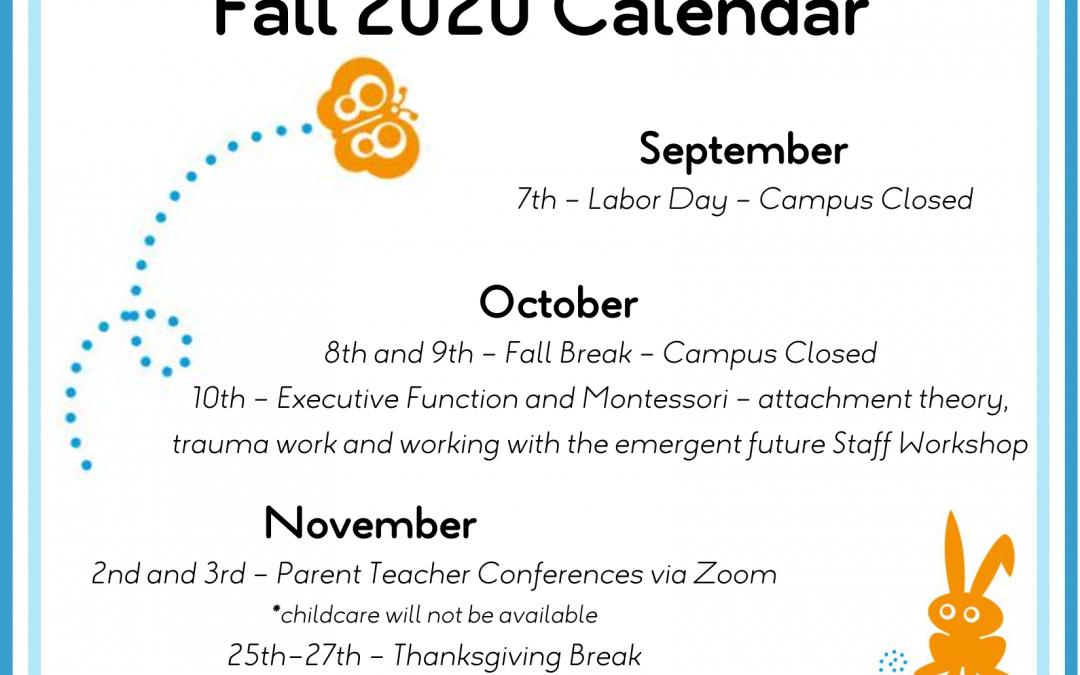 Fall 2020 Calendar & Winter Break Survey